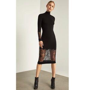 BCBG Lace Trimmed Sheath Midi Dress in Black